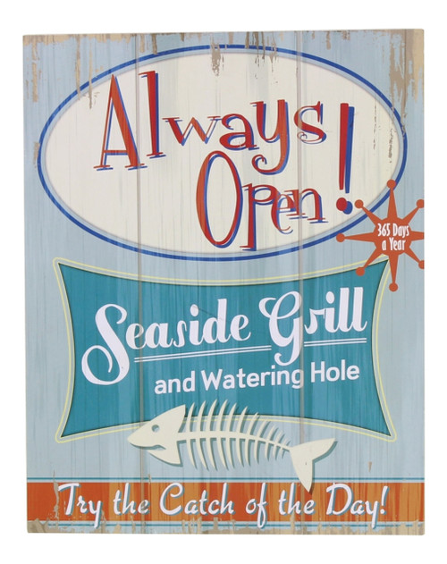 Always Open Seaside Grill and Watering Hole 15 Inch Wooden Wall Plaque Youngs