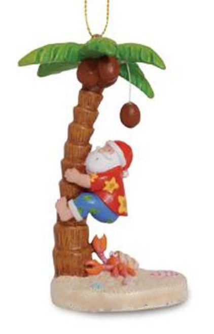 Beachy Santa Climbing Coconut Palm Tree Christmas Holiday Ornament