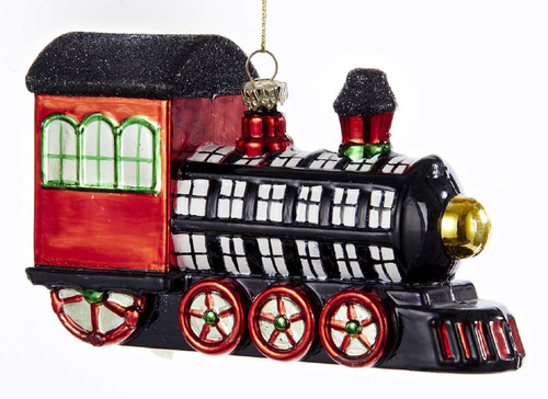 Black White Red Plaid Patterend Train Christmas Holiday Ornament