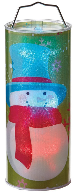 Lights Up Battery Operated LED Hanging Snowman Winter Cylinder 12 Inch Midwest
