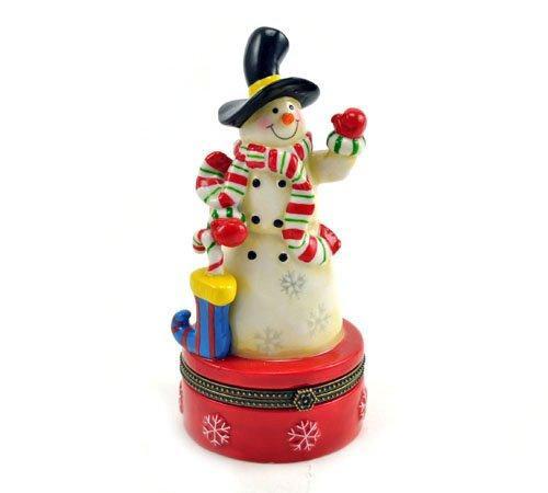 Christmas Stocking Candy Cane Snowman Porcelain Hinged Trinket Box PHB