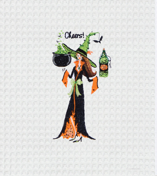 Cheers Witch Brewing Up A Spell Halloween Holiday Kitchen Towel 27 Inch