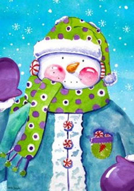 Cheerful Snowman Whimsical Polka Dotted Scarf and Mittens Garden Flag Banner
