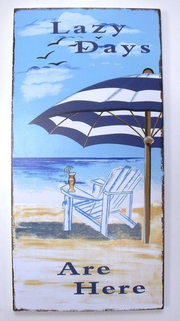 Coastal Beachy Beach Umbrella Lazy Days Are Here Wooden Sign Wall Plaque