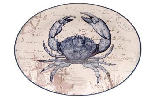 Coastal Postcards Blue Crab 16 Inch Oval Serving Platter Certified International
