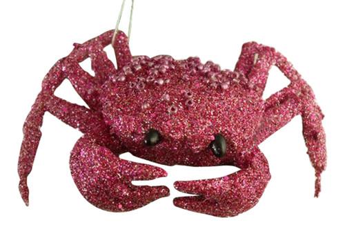 Fun Coastal Beachy Pink Crab Christmas Holiday Tree Ornament
