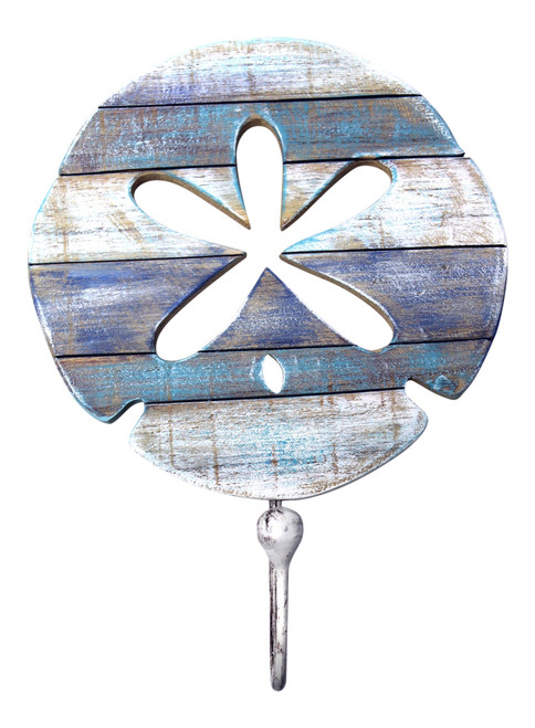 Blue and White Coastal Sand Dollar Single Hook Wall Hanger Carved Wood