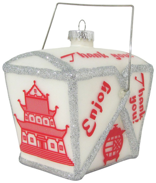 Chinese Take Out Container Glass Holiday Ornament