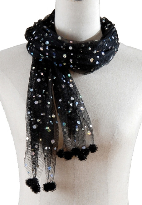 Stunning Black Spooky Shiny Scarf Halloween Costume Accessory