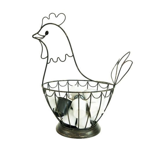 Bronze Shaped Hen House Antiqued Kitchen Counter Coffee Pod Keeper Holder