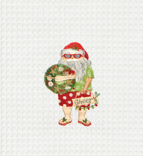 Beach Bum Santa Holding Holiday Cheer Wreath Kitchen Towel Waffle Weave 27 Inch
