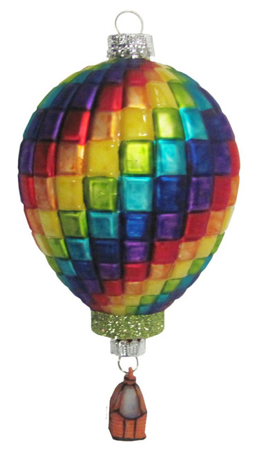 Blocks of Bright Color Hot Air Balloon Glass Holiday Ornament