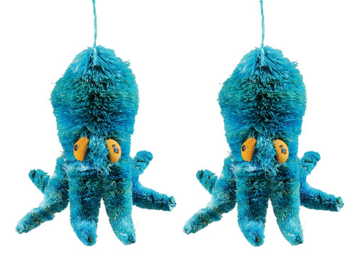 Abaca Wood Teal Blue Octopus Christmas Holiday Ornaments Set of 2