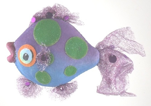 Purple Fins Tropical Blue Fish Nautical Beach Christmas Holiday Tree Ornament