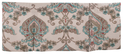 Carly Med Teal Rust Brown Print on White Lined Box Pleat 45 Inch Valance Split P