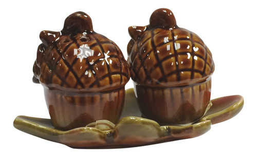 Autumn Fall Acorns on Maple Leaf Tray Salt and Pepper Shaker 3 Piece Set