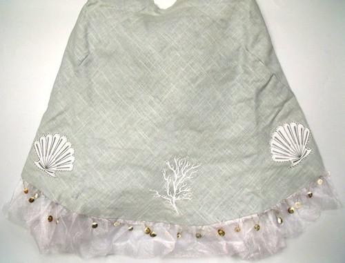 56 Inch Seagreen Linen Seashell and Coral Christmas Holiday Tree Skirt
