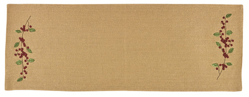 Burlap and Red Berries Holiday Dining Kitchen 54 Inch Table Runner