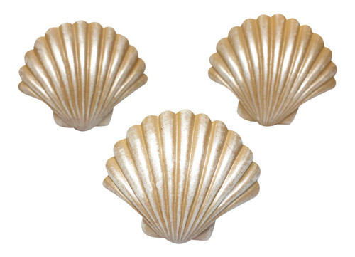 Coastal Shaped Scallop Seashell Drawer Cabinet Pull Polystone 1.75 Inch Set of 3