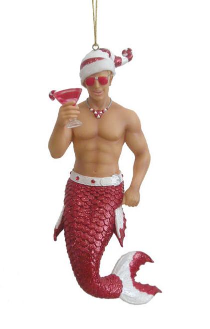 Candy Cane Merman Mermaid Christmas Tree Ornament