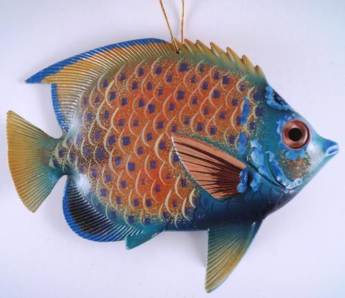 Caribbean Sea Tiki Tropical Angel  Fish Ornament  TFO32 6 INCH