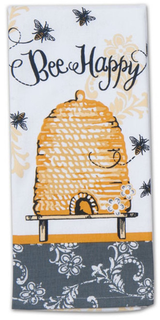 Bee Happy Yellow and Black Hive 28 Inch Kitchen Dish Tea Towel Cotton