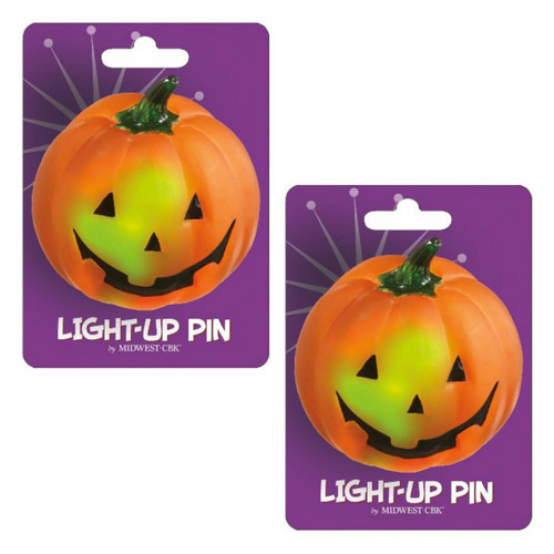 Spooky Fun Lights Up Halloween Pumpkin Jack-O-Lantern Pin Set of 2 Midwest CBK