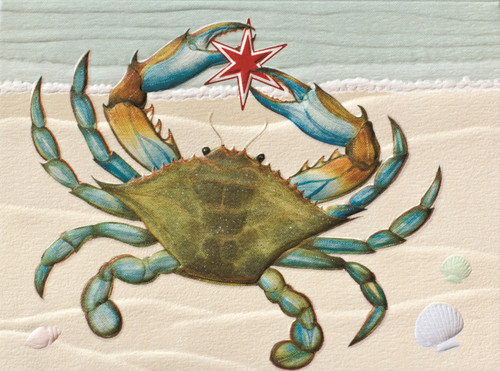 Blue Crab Christmas Sculpted Embossed 9 Boxed Holiday Cards and Envelopes