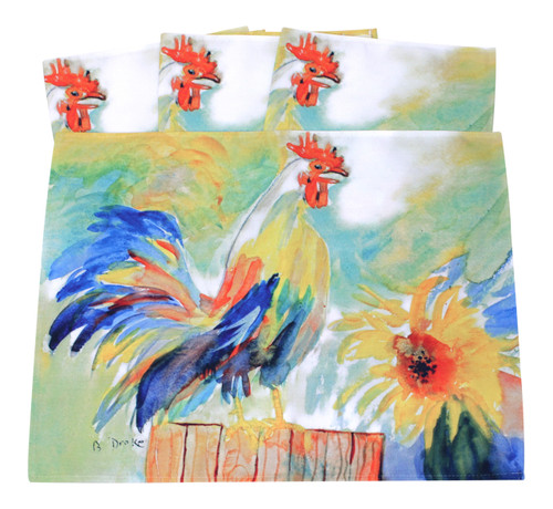 Betsys Rooster 14 Inch Kitchen Dining Room Placemats Set of 4