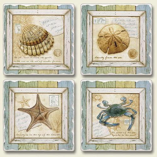 Blue Crab Starfish Shells Treasures of Sea Coasters Set of 4 Highland Graphics