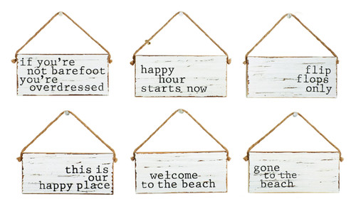 Barefoot Happy Place Flip Flops Beach House Door Wood Signs 6.5 Inch Set of 6
