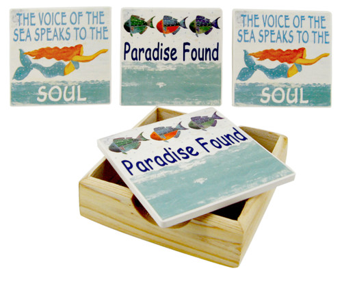Mermaids Voice of Sea Paradise Found Tile Coasters and Wood Tray Set