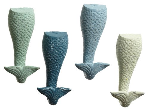 Blue Teal Green and White Mermaid Tails Wall Hooks Set of 4 Painted Cast Iron
