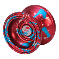 Spin Dynamics Yoyo Red with blue silver splash