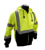 Sweatshirt with hood, high visibility yellow and black, ribbed cuffs and waist, ANSI Class 3 ##75-5325 ##