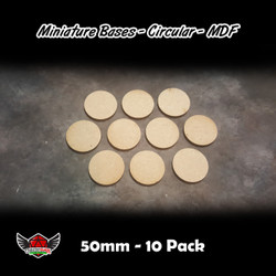 Miniature Bases - Circular - MDF - 50mm - 10 Pack