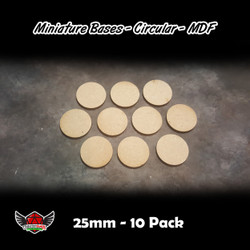 Miniature Bases - Circular - MDF - 25mm - 10 Pack