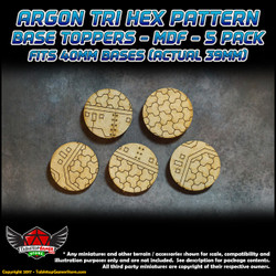 Argon Tri-Hex Pattern Base Toppers - Fits 40mm Bases - 39mm Actual - MDF - 5 Pack