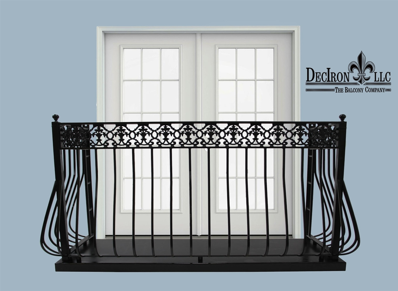 4 deep llight belly picket wrought iron for Balcony platform