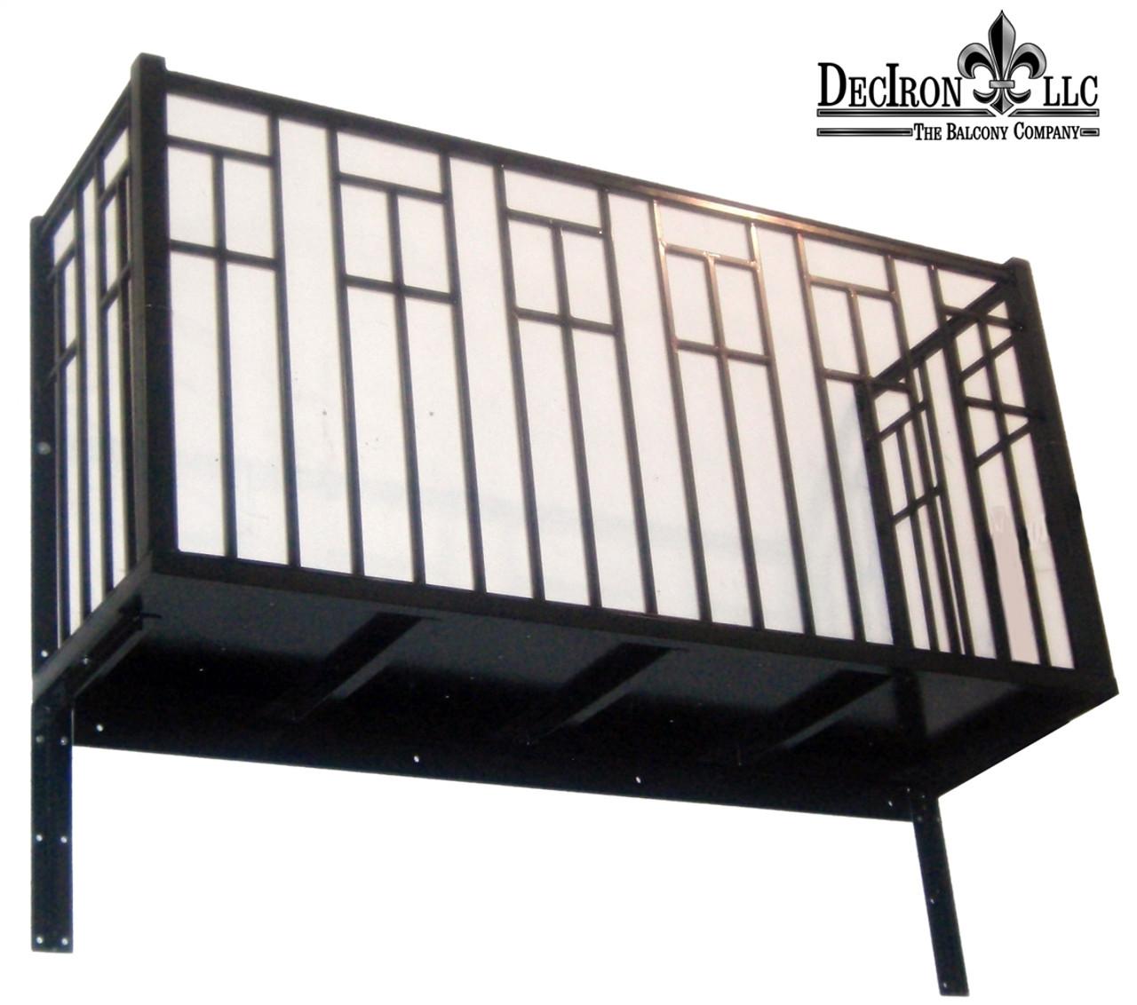 Contemporary design 1 2 pickets wrought iron balcony 42 for Balcony platform