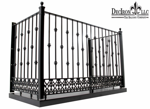Alternate knuckle wrought iron balcony with greco for Balcony platform