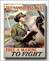 Be a Marine Free a Marine to Fight WWII Canvas Print 2D