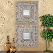 Tuscan Mirror, Tuscan Mirrored Wall Plaque, Metal Wall Art