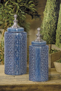 Tuscan Jars, Tuscan Vases, Blue Ceramic Canisters