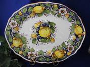 Tuscan Lemons Serving Platter, Tuscan Lemon Platter, Tuscan Lemons Plate, Tuscany Lemons Flowers Serving Platter