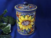 Tuscan Sunflower Biscotti Jar, Tuscan Sunflower Canister, Sunflower Biscotti Jar, Tuscany Biscotti Jar
