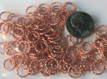 144 Fancy Twisted Copper Plated Brass 8mm Jump Rings~16 Gauge