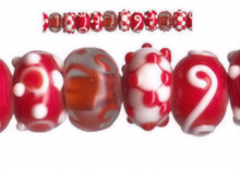 12 Lampwork Glass Red White Clear Swirl Bumpy Rondelle Beads *