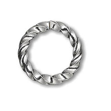 100 Gunmetal Plated Brass 8mm Fancy Twisted 16 Gauge Jump Rings