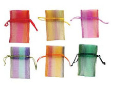 "12 Organza 3x4"" Pouch Jewelry Gift Bags Plaid Mix with Satin Ribbon Drawstring"